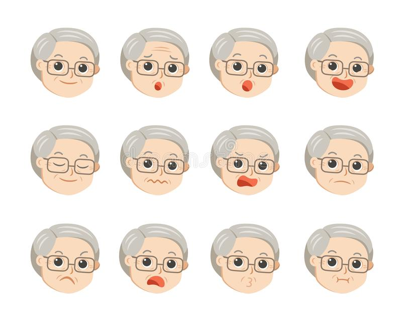 Cute grandpa in glasses with facial emotions. Grandpa face with different expressions. Granny in cartoon style vector illustration stock illustration