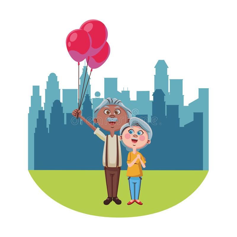 Cute grandparents couple. With balloons over cityscape scenery vector illustration graphic design vector illustration