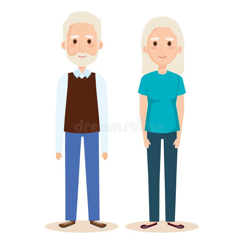 Cute grandparents couple characters. Vector illustration design royalty free illustration