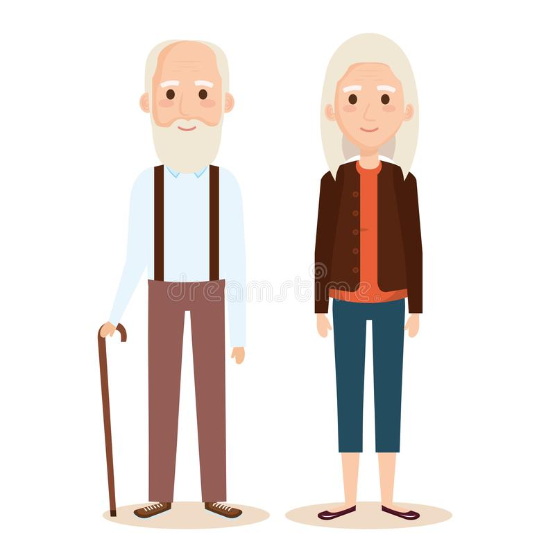 Cute grandparents couple characters. Vector illustration design vector illustration