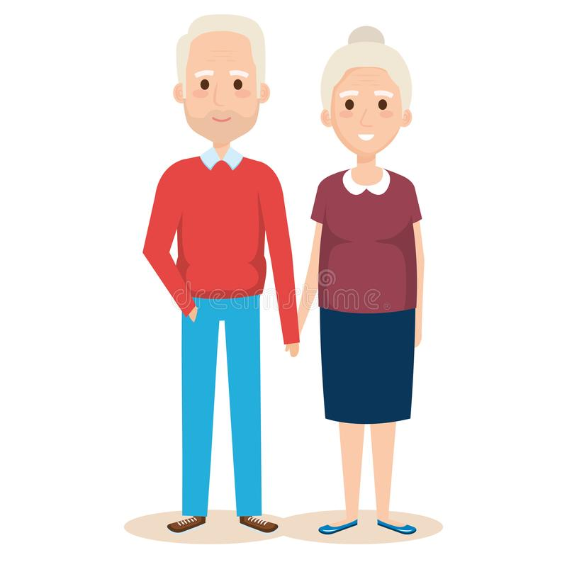 Cute grandparents couple characters. Vector illustration design stock illustration