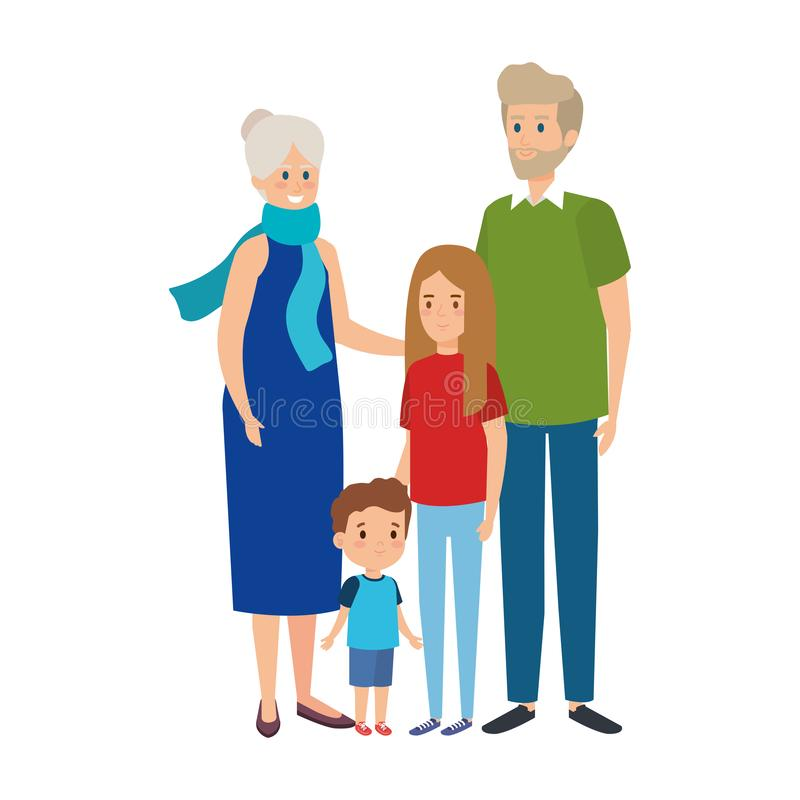 Cute grandparents couple with grandson and grandaughter royalty free illustration