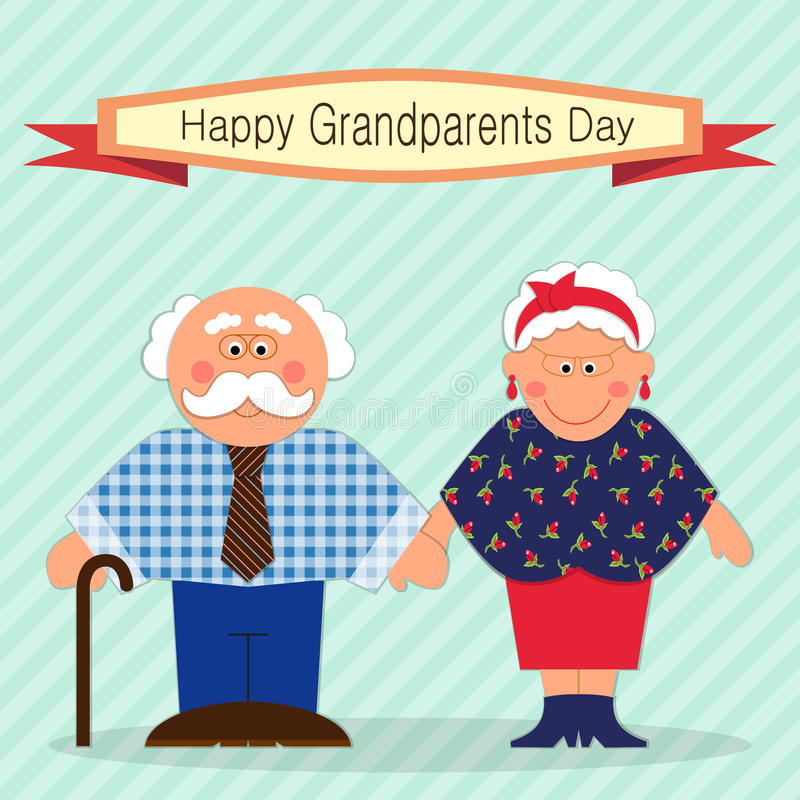 Cute Grandparents Day card with funny characters of Grandfather and Grandmother. For your decoration vector illustration