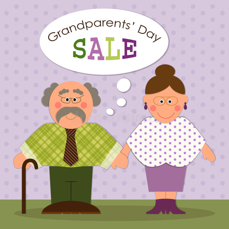 Cute Grandparents Day card with funny characters of Grandfather and Grandmother. For your decoration stock illustration