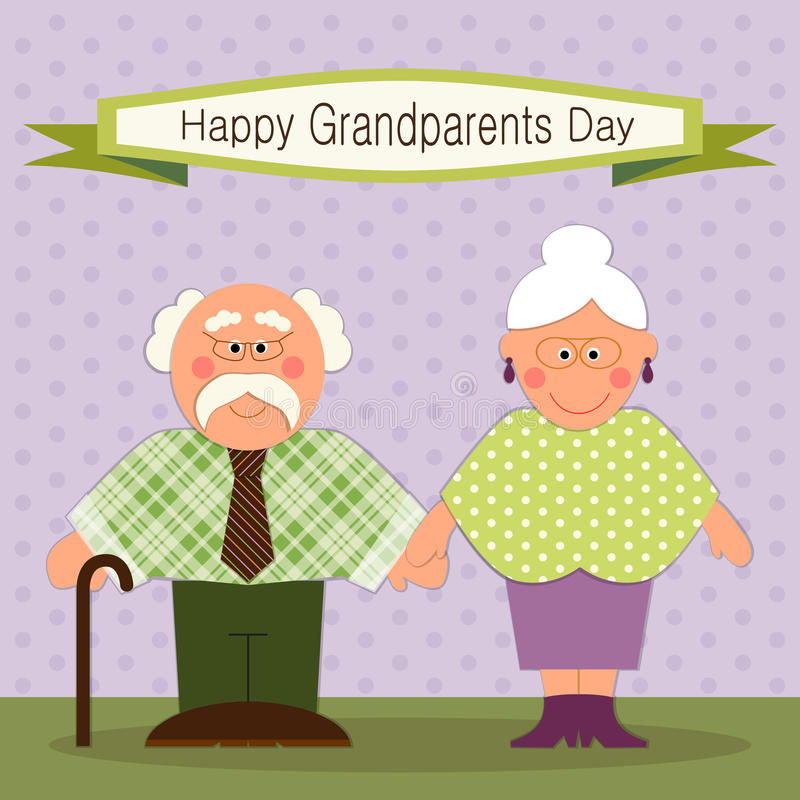 Cute Grandparents Day card with funny characters of Grandfather and Grandmother. For your decoration royalty free illustration