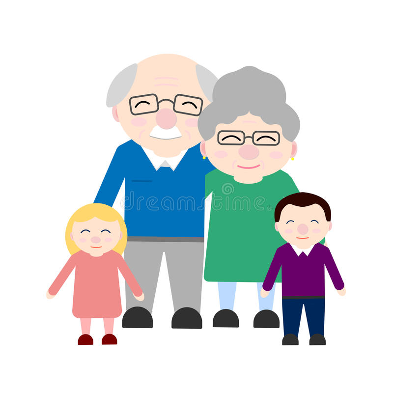 Cute grandparents with grandchildren. Happy Grandparent`s day. Illustration on white background stock illustration