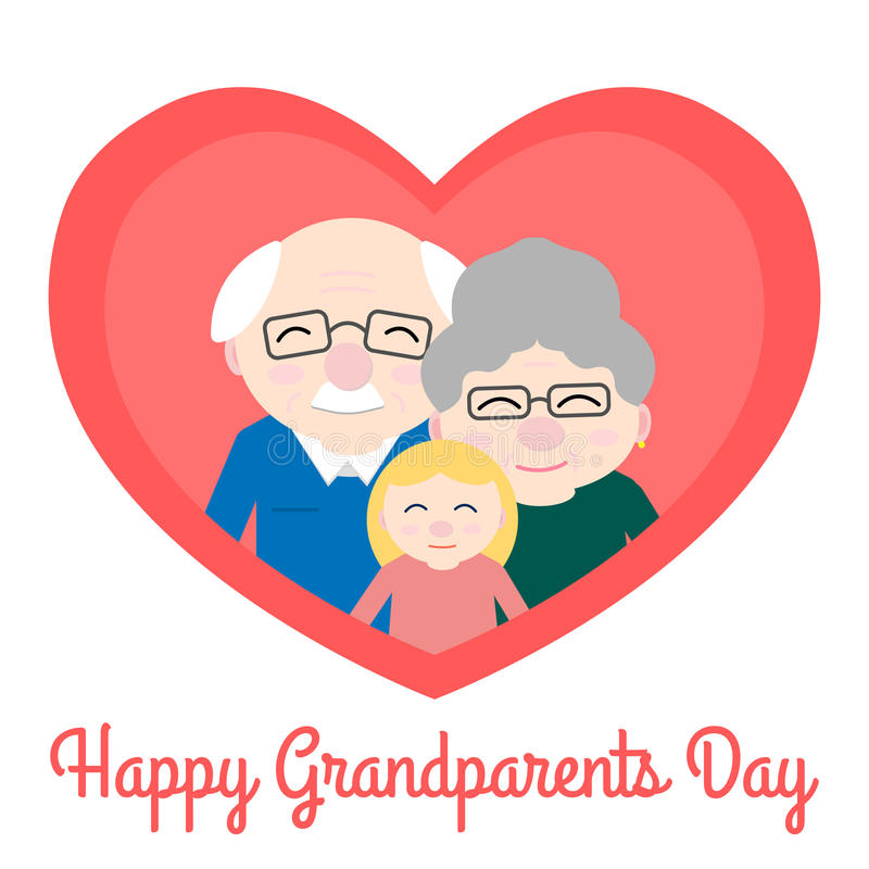 Cute grandparents with granddaughter in heart. Happy Grandparent`s day vector illustration