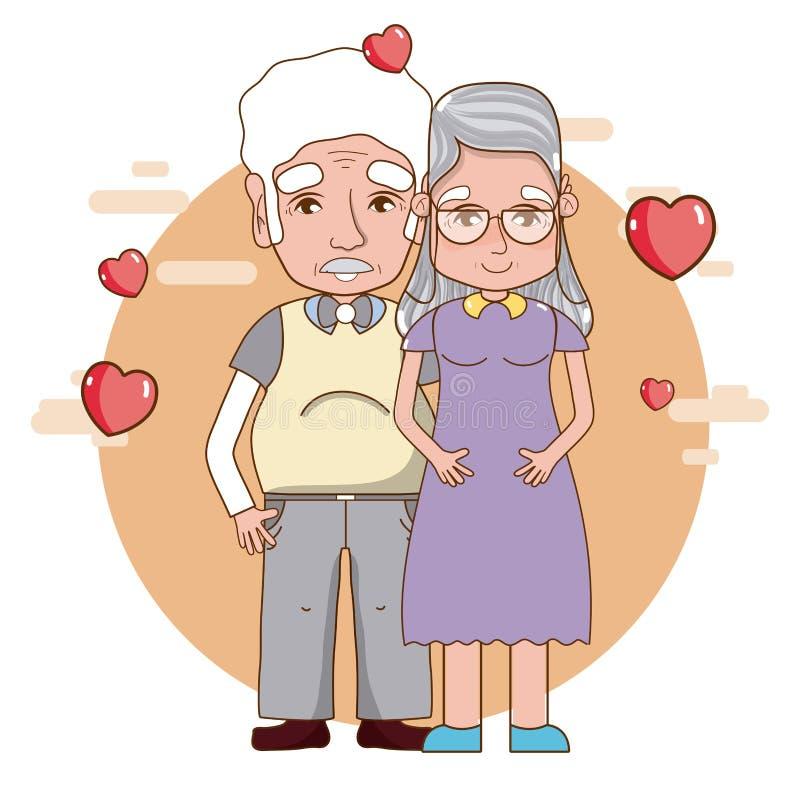 Cute grandparents couple stock illustration
