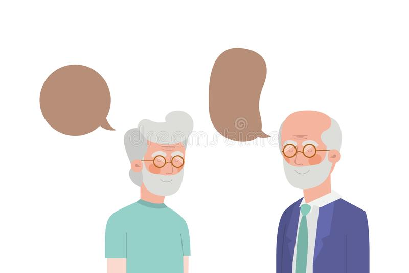 Cute grandparents with speech bubble character. Vector illustration design royalty free illustration