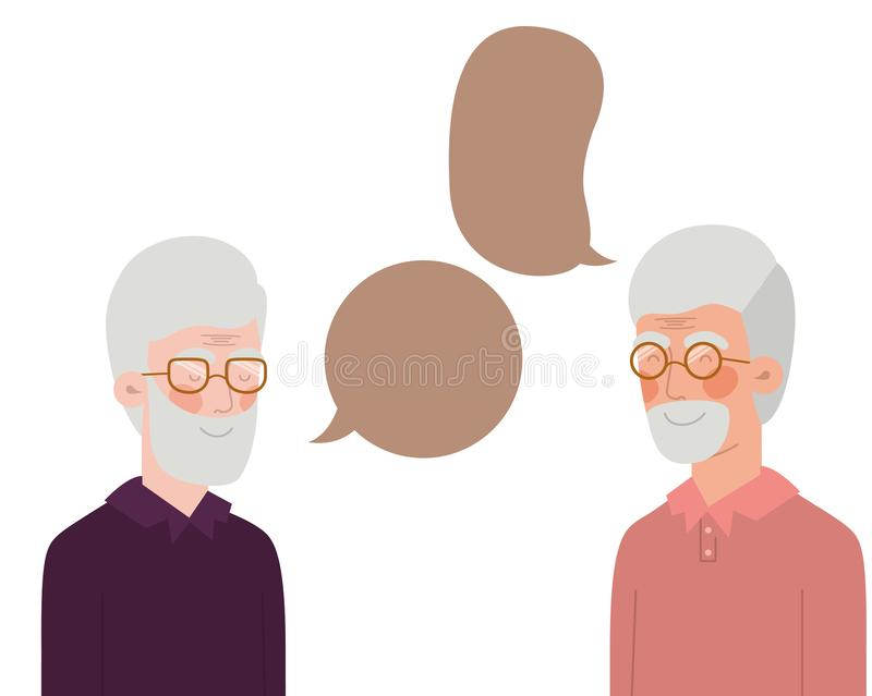 Cute grandparents with speech bubble character. Vector illustration design vector illustration