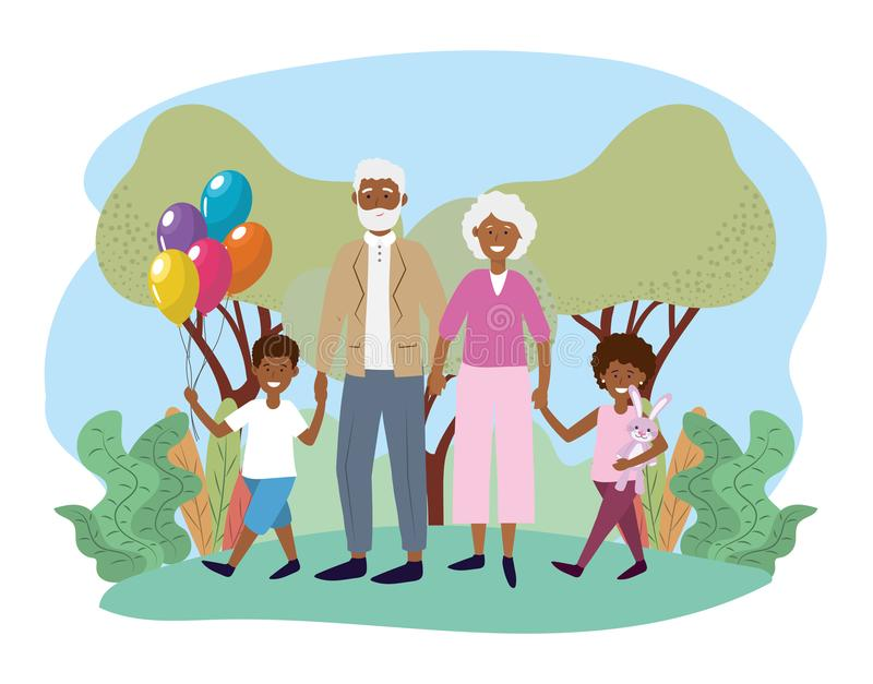 Cute grandparents with their happy kids and balloons royalty free illustration