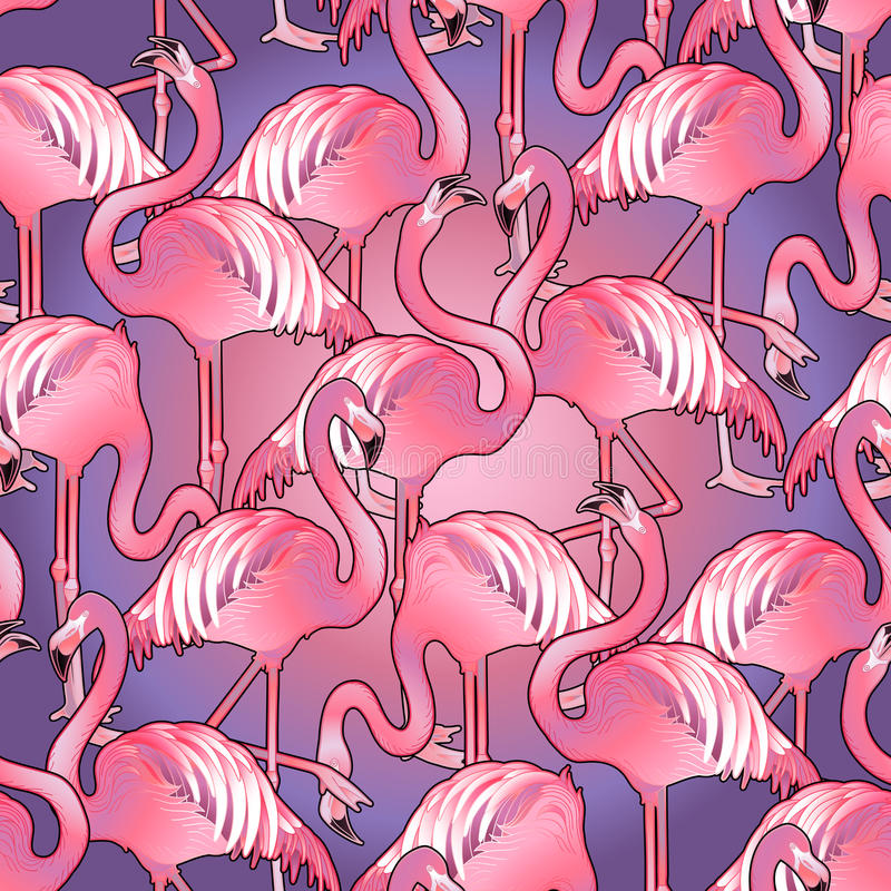 Cute graphic flamingo pattern. Cute graphic flamingo in the side view. Pretty exotic birds. Vector seamless pattern royalty free illustration