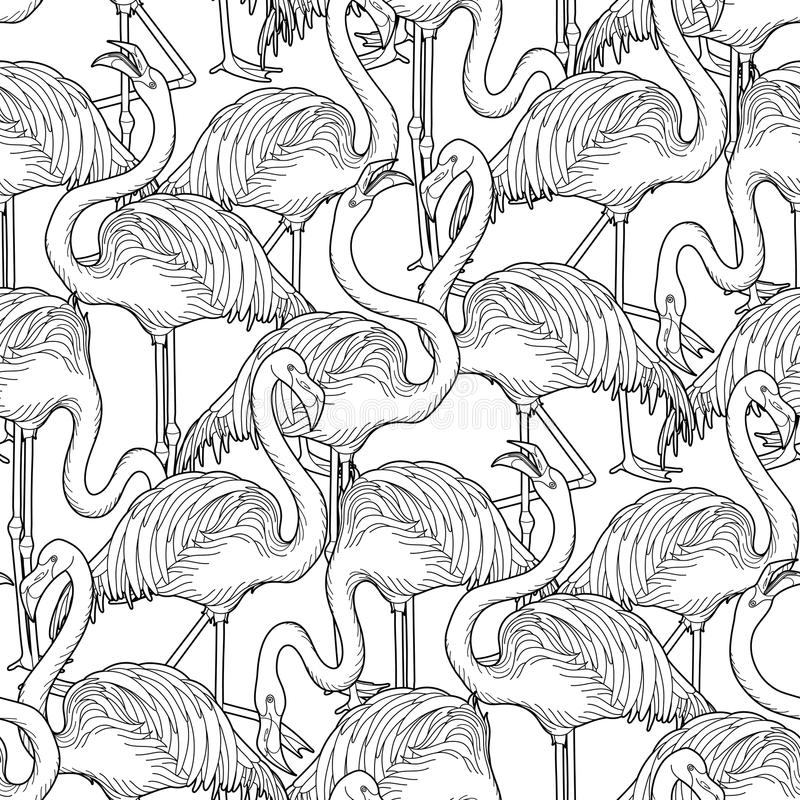 Cute graphic flamingo pattern. Cute graphic flamingo in the side view. Pretty exotic birds. Vector seamless pattern vector illustration