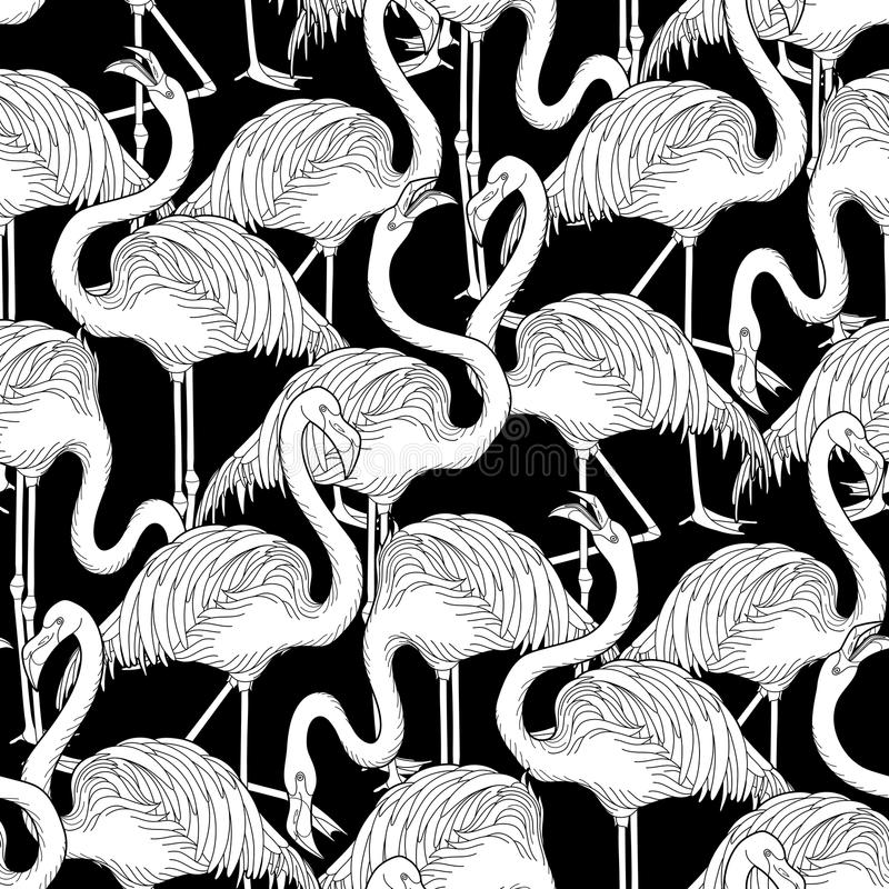 Cute graphic flamingo pattern. Cute graphic flamingo in the side view. Pretty exotic birds. Vector seamless pattern stock illustration