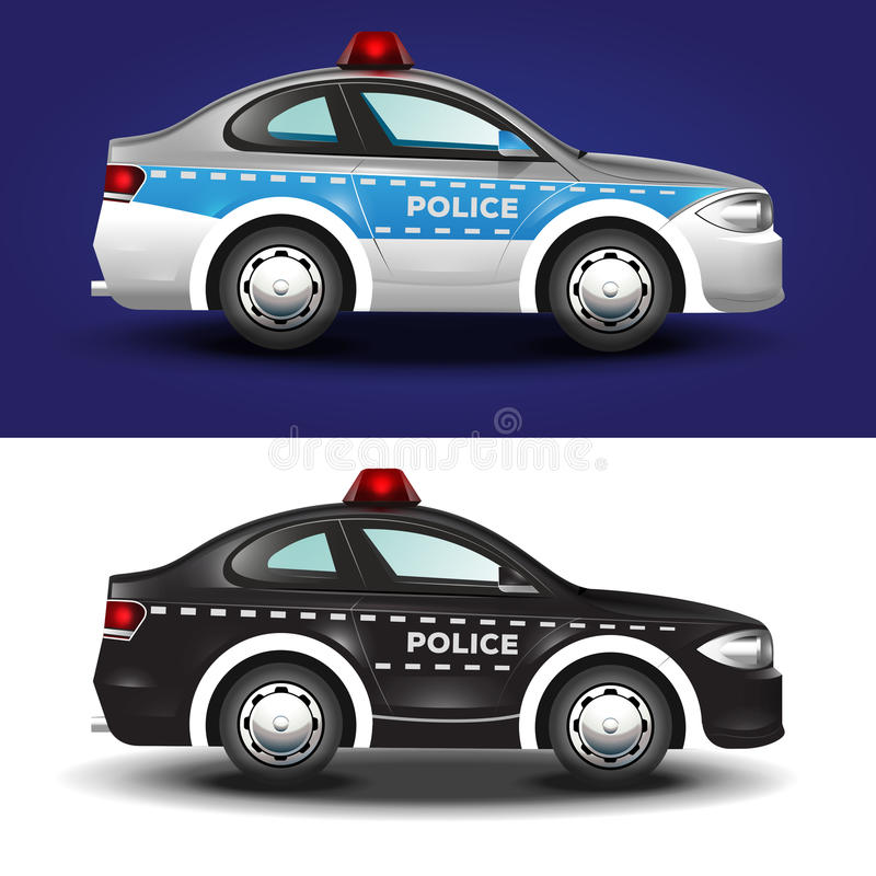 Cute graphic illustration of a police car in blue grey and black colors stock illustration