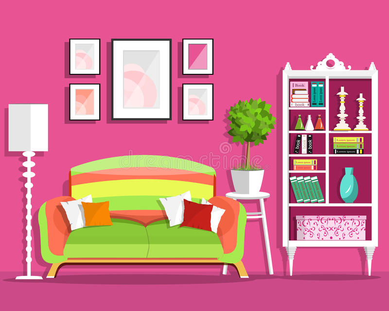 Cute Graphic Living Room Interior Design With Furniture: Sofa ...