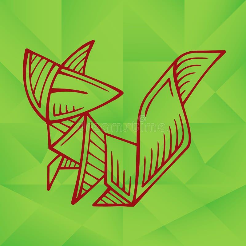Cute Graphic Origami Fox vector illustration