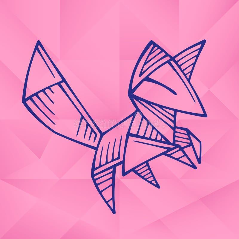 Cute Graphic Origami Fox stock illustration