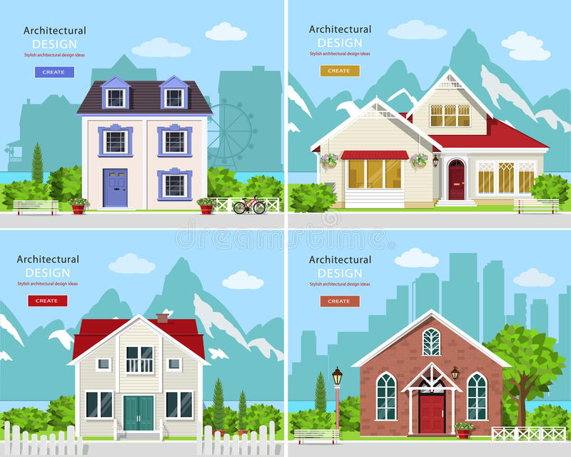 Cute graphic private houses with city landscape and stylish houses with rocky mountains backdrop. stock illustration