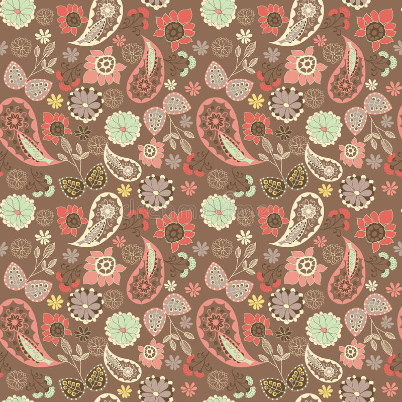 Cute graphical oriental paisley pattern with flowers. vector illustration