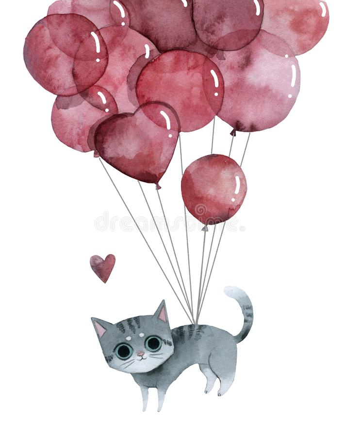 Cute gray cat flies on pink balloons, greeting card vector illustration