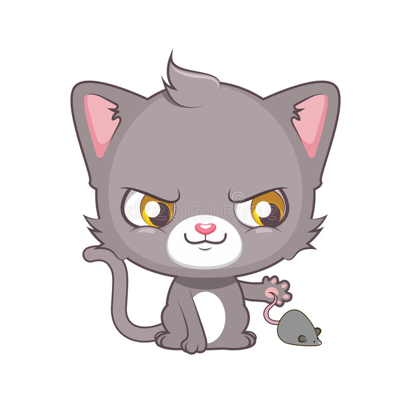 Cute gray cat wanting to catch a mouse. Cute gray cat character wanting to catch a mouse stock illustration