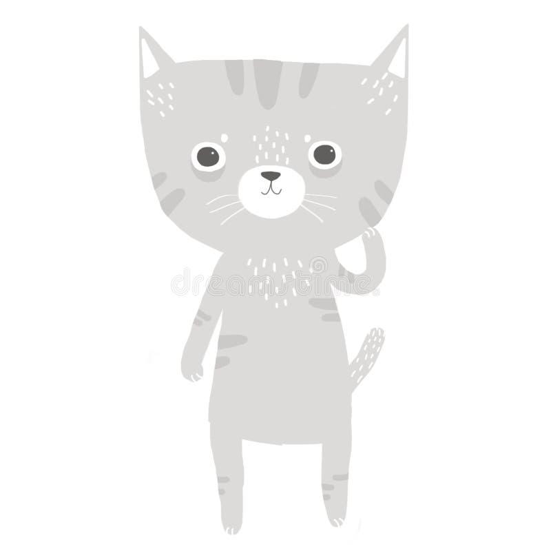 Cute gray kitten stock illustration