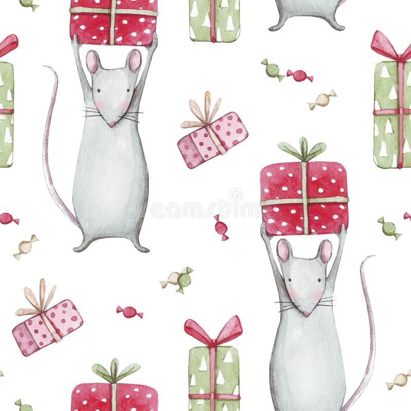 Free Cute Gray Mouse Or Rat 2020. Merry Christmas Seamless Pattern With Watercolor Illustration Of A Baby Mice Animals With Sweet Candi Stock Image - 165245281