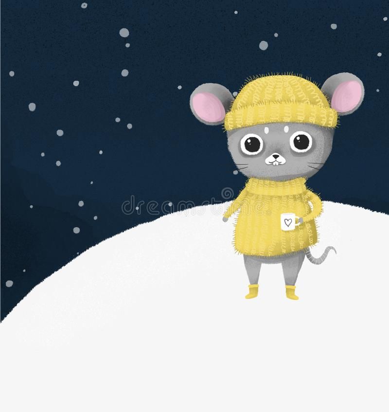 Cute gray mouse, in a yellow sweater and cap, Happy New Year, 2020. Illustration royalty free illustration