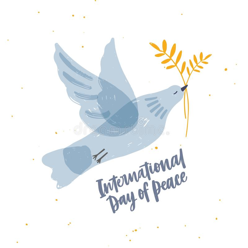 Cute gray translucent dove, pigeon or bird flying and carrying olive branch and International Day of Peace lettering vector illustration