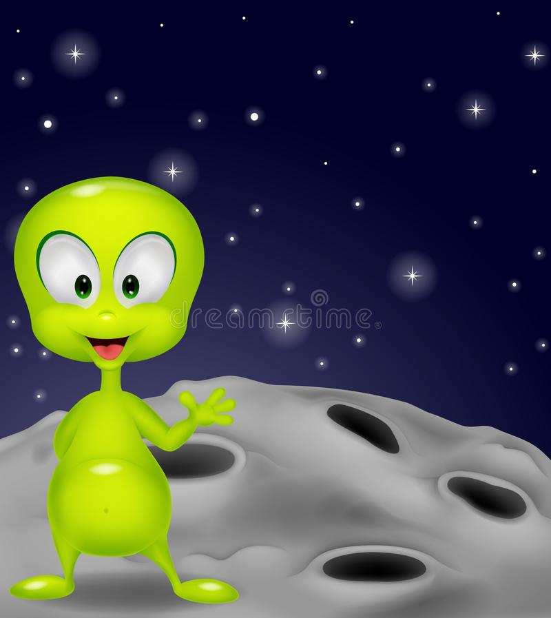Cute green alien cartoon waving hand stock illustration