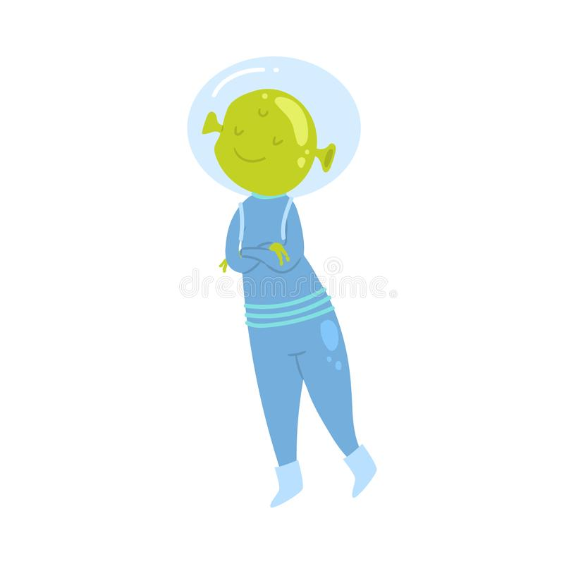 Cute green alien is dreaming about the tasty food. And flying from ground. Flat style. Vector illustration on white background royalty free illustration