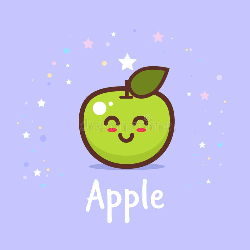 Cute green apple cartoon comic character with smiling face happy emoji kawaii style fresh fruit healthy food concept stock illustration