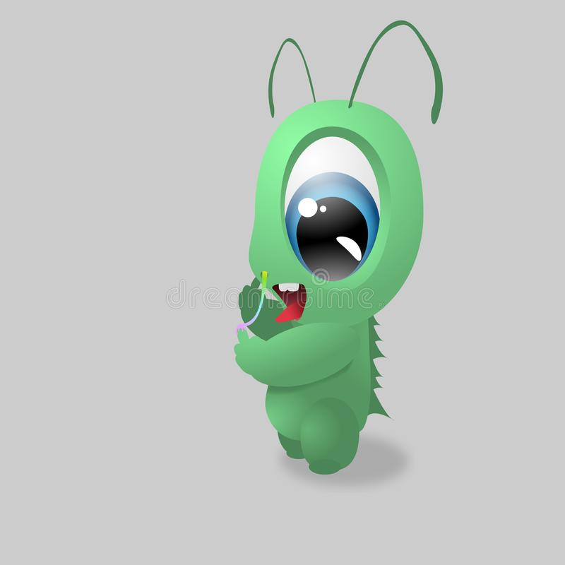 Cute Green Baby Monster Playing with Rainbow Snot. Editable eps. vector illustration stock illustration