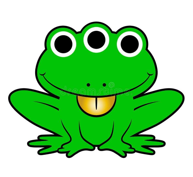 Cute green cartoon alien frog vector illustration