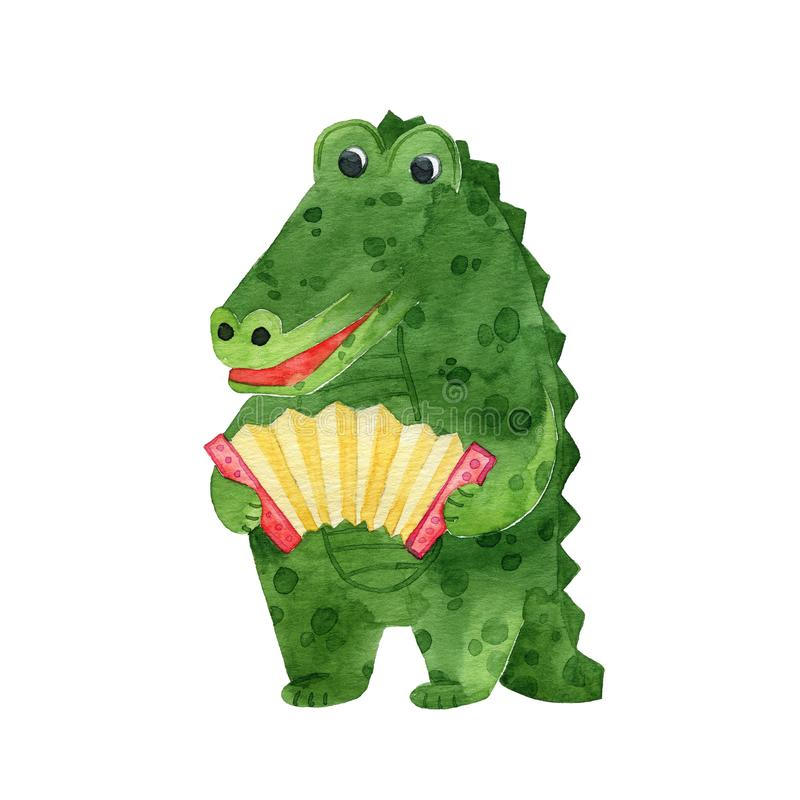 Cute colorful crocodile playing the accordion. Cute green crocodile playing the accordion vector illustration