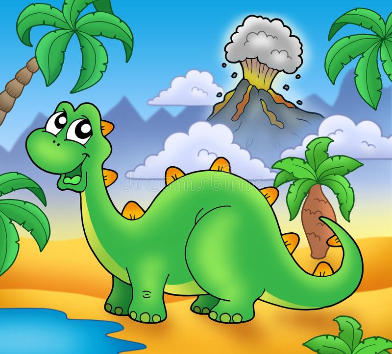 Download Cute Green Dinosaur With Volcano Stock Illustration - Image: 13685060