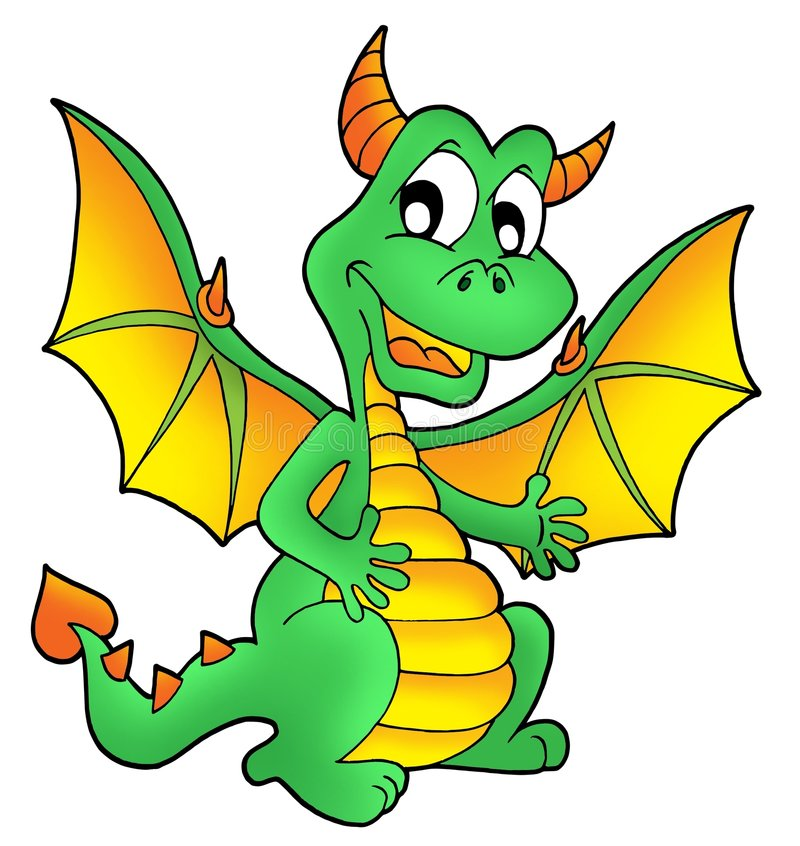 Cute green dragon stock photography