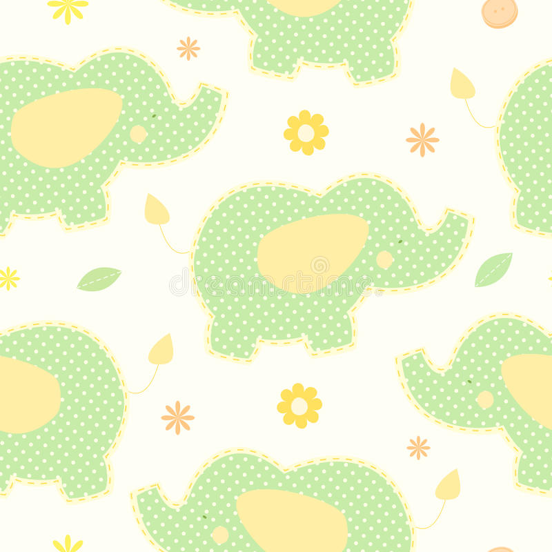 Cute green elephant seamless vector background royalty free illustration