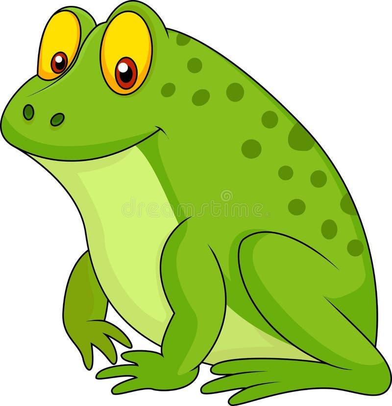 Cute green frog cartoon royalty free illustration