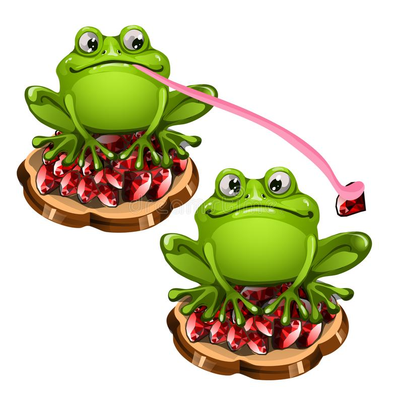 Cute green frog with a long pink tongue stole a precious stone ruby. Cartoon animals isolated on a white background. Vector illustration vector illustration