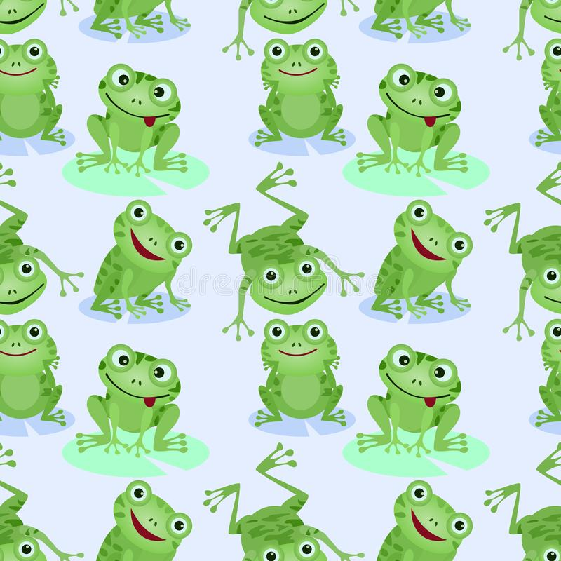 Cute green frogs seamless pattern. vector illustration