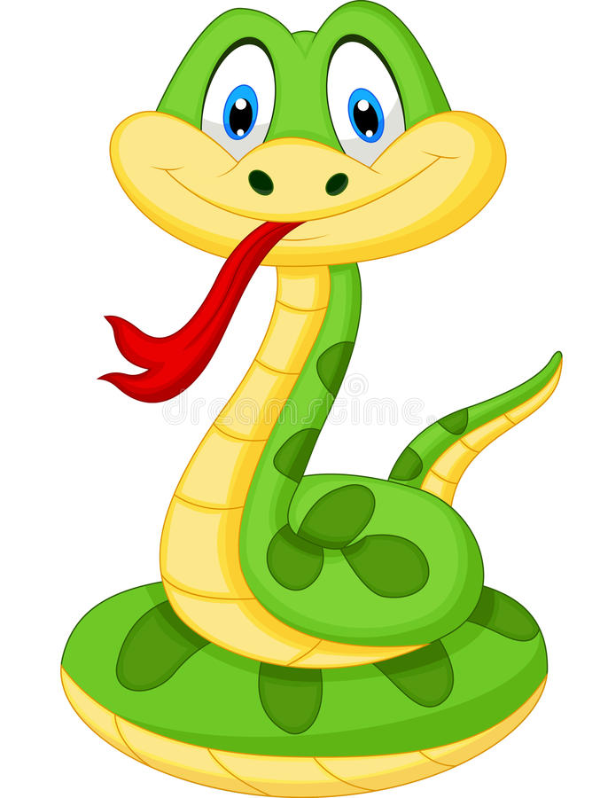 Free Cute Green Snake Cartoon Stock Images - 45726534