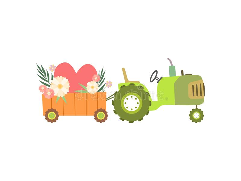 Cute Green Tractor with Cart Full of Spring or Summer Flowers, Colorful Agricultural Farm Transport Vector Illustration. On White Background stock illustration