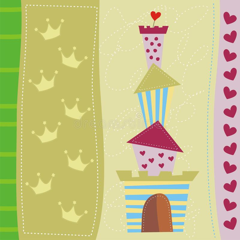 Cute Greeting Card With Castle Stock Image