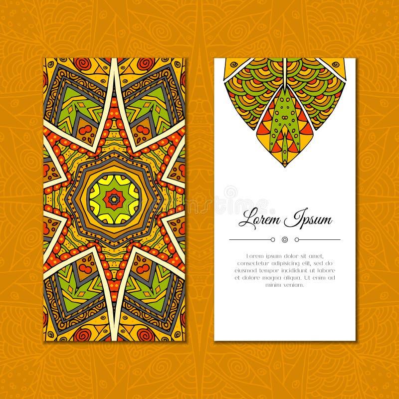 Cute greeting card with color mandala mehndi stock illustration