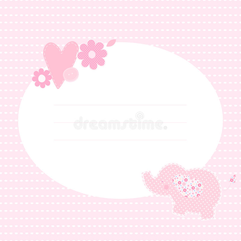 Cute greeting card with elephant, flowers and heart. vector illustration
