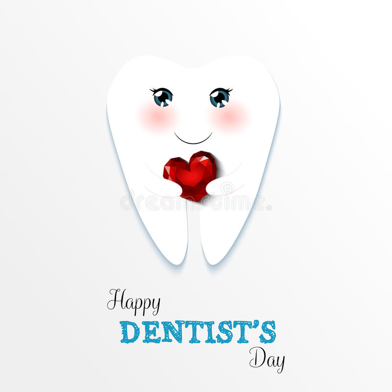 Cute greeting card Happy Dentist Day royalty free illustration
