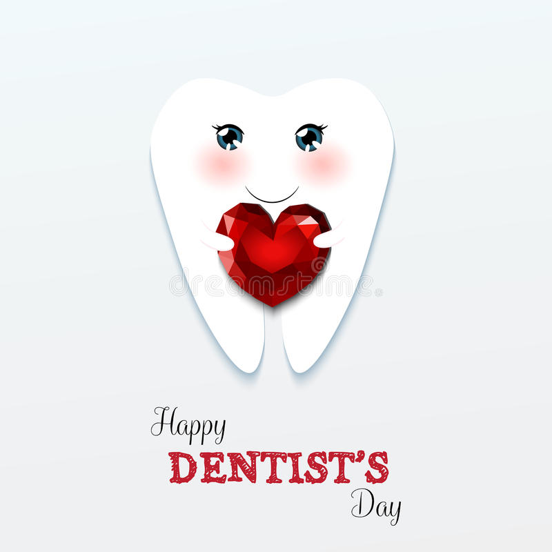 Cute greeting card Happy Dentist Day stock illustration
