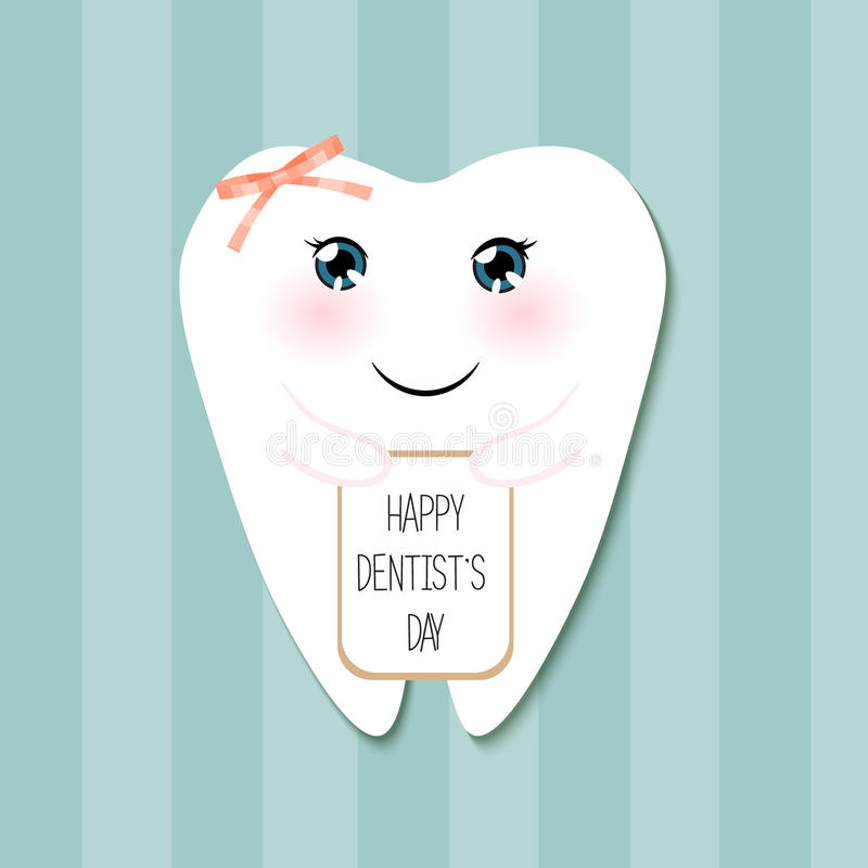 Cute greeting card Happy Dentist Day as funny smiling cartoon character of tooth stock illustration